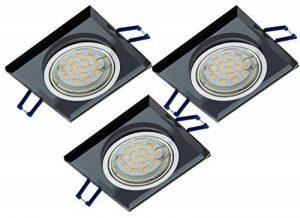 Lot de 3verre Spot à intensité variable Design Spot en aluminium et verre Noir + 6W GU10LED & GU10Connectique 230V de la marque Trango image 0 produit