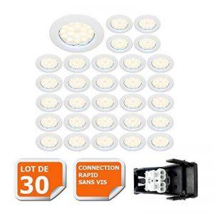 LOT DE 30 SPOT LED ENCASTRABLE COMPLETE RONDE FIXE eq. 50W LUMIERE BLANC NEUTRE de la marque Lampesecoenergie image 0 produit