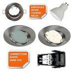 LOT DE 30 SPOT LED ENCASTRABLE ORIENTABLE ALU BROSSE AVEC AMPOULE GU10 230V eq. 50W, BLANC CHAUD de la marque LampesEcoEnergie image 2 produit
