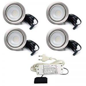 Lot de 4Lampe Spot LED encastrable Meubles Meubles Spot plat LED 2,7W 12V/DC Blanc chaud 3000K/200LM couleur acier inoxydable brossé + 15W LED Transformateur 230V de la marque vislux image 0 produit
