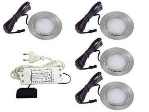 Lot de 4 spots LED plats encastrables pour meubles 3 W LED SMD Blanc Chaud 3000 K Ultra Plat FT-1013N de la marque vislux image 0 produit