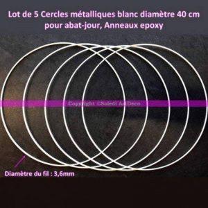Lot de 5 Cercles métalliques blanc 40cm de diamètre pour abat-jour, Anneaux epoxy Attrape rêves de la marque Lealoo image 0 produit