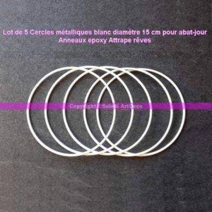 Lot de 5 Cercles métalliques Blanc diamètre 15 cm pour Abat-Jour, Anneaux epoxy Attrape rêves de la marque Lealoo image 0 produit