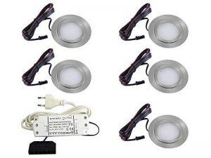Lot de 5spots extra-plats encastrables pour meubles - Modèle FT-1013N - LED SMD 3 W, 3000 K - Coloris blanc chaud de la marque vislux image 0 produit