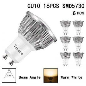Lot de 6 Ampoules LED Spot Culot GU10, ampoules halogènes 50W, 520lm, 5.5W Blanc Chaud 3000k, éclairage encastré, éclairage sur rail de la marque yohooo image 0 produit