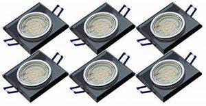 Lot de 6dimmbare tg6736s de 06/6D eckige élégant luxe design Spot en aluminium et verre Noir + 6x 6W GU10LED & Boîte de raccordement Gu10230V de la marque Trango image 0 produit