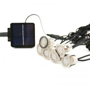 Lot de 6 Mini Spots Encastrables Solaires Ultra-Plats en Acier Inoxydable - Éclairage Blanc à LED avec Panneau Solaire - Idéal Décoration Terrasse en Bois de la marque Festive Lights image 0 produit