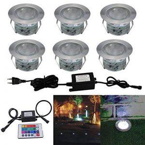 Lot de 6 Spots LED Éclairage extérieur Encastrable, IP67 DC 12V RGB/RVB Acier inoxydable- Décor pour Terrasse Jardin Cour Allée Couloir Lampe de Sécurité de la marque 7Colors image 0 produit