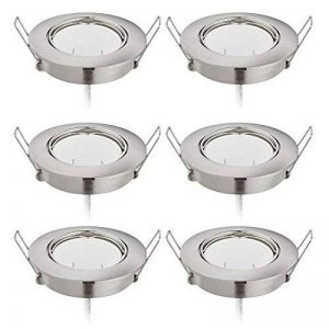 Lot de 6 Spots LED Encastrable 6x5W 425Lm, Orientable/Dimmable, Ultra Plat Rond 230V, Blanc Chaud 2700K, 82Ra, Nickel Mat de la marque HC LIGHT image 0 produit