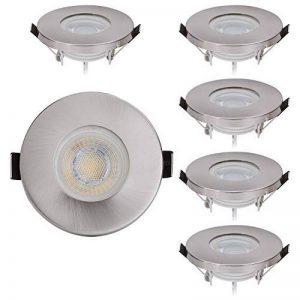 Lot de 6spots LED encastrables protection IP44de chrome avec module LED Spot 230V/5W–Blanc chaud 3000K–Angle d'éclairage 60°–pour pièces humides/salle de bains–Intensité variable–Spot encastrable rond pour spot encastrable en acier inoxyda image 0 produit