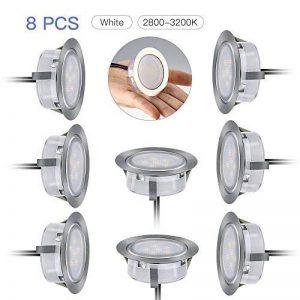 Lot de 8 LED Spots Encastrables, Lampe de Plafond Etanche IP67, Ampoules Intérieure et Extérieur1.5W en Acier Inoxydable, Plafonnier Encastré Blanc Chaud Naturel (2800-3200K) de la marque Riiai image 0 produit