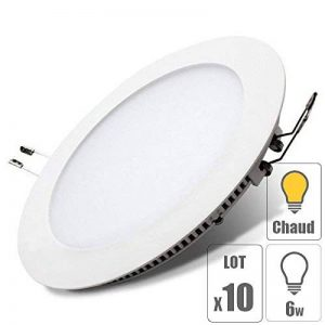 lot x10 Spot led downlight rond 6w encastrable slim blanc chaud pour plafonnier extra plat TechBox de la marque TechBox image 0 produit