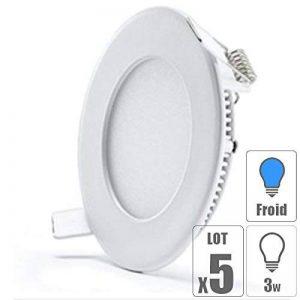 lot x5 Spot led downlight rond 3w slim blanc froid de la marque TechBox image 0 produit
