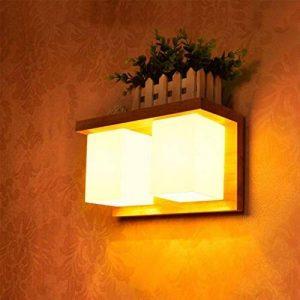 LQQ Gyy Home Hotel Lighting Lampe de Mur de façade Japonaise de Style Japonais en Bois Massif avec décoration de Chevet d'une lumière Simple et Moderne pour la décoration de la Lampe de Chevet (modèl de la marque LQQ image 0 produit