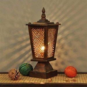 LUCKY CLOVER-A Lampe De Table Thaï En Bois Massif Tissage HôTel ÉClairage CréAtive RéTro Simple En Bois Chambre Chevet Lampe Du Sud-Est Asiatique Style Naturel de la marque LUCKY CLOVER-A image 0 produit