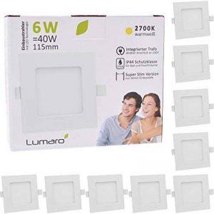 Lumare LED Spot à Encastrer Extra Plat 6W 450lumen 230V IP44 Blanc chaud pour salle de bain et salon Spot carré pièce de bain avec 9 pièce de la marque Lumaro image 0 produit