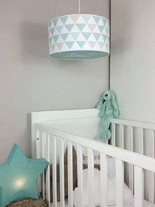 Luminaire enfant/lampe de plafond/Suspension Blanc avec Triangle Vert Menthe/Gris Taupe de la marque Bacon and Apples image 0 produit