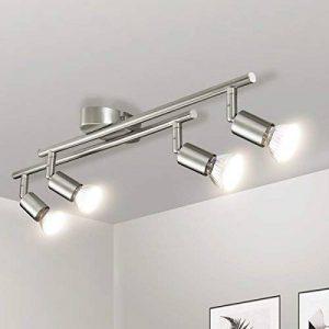 Luminaire Plafonnier LED, Gr4tec Applique Lampe Spots de Plafond Salon Salle de Bain Cuisine Salle a Manger GU10 4W 400Lm Blanc Chaud Nickel Mat de la marque image 0 produit