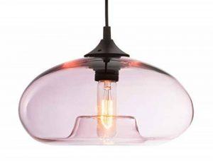 LUSSIOL - Suspension Bronks Glossy - verre translucide rose - diam 28 x H18cm - E27 40W de la marque Lussiol image 0 produit
