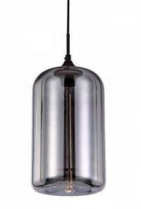 LUSSIOL - Suspension Soho Mercurisée - verre gris effet miroir - diam 18 x H30cm - E27 40W de la marque LUSSIOL image 0 produit