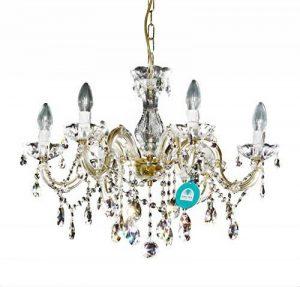 Lustre 6 bras Ø 60cm avec SPECTRA® Cristal de Swarovski, de coleur or (laiton) de la marque Crystal Lights by INNDESIGN image 0 produit