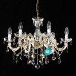 Lustre 6 bras Ø 60cm avec SPECTRA® Cristal de Swarovski, de coleur or (laiton) de la marque Crystal Lights by INNDESIGN image 1 produit