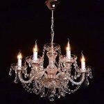 Lustre Baroque à 6 Lampes Bougies en Métal couleur Or avec Bras en Verre Gravé décoré de Pampilles en Cristal pour Salon Chambre Hall d'Entrée 6x60W E14 de la marque MW-Light image 3 produit