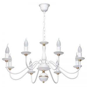 Lustre Chandelier de Design Moderne à 8 Lampes Bougies en Métal Blanc avec Déco Doré pour Salon Chambre Salle à Manger 8x60W E14 de la marque Demarkt image 0 produit