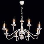 Lustre Chandelier de Design Moderne à 8 Lampes Bougies en Métal Blanc avec Déco Doré pour Salon Chambre Salle à Manger 8x60W E14 de la marque Demarkt image 2 produit