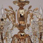 Lustre Chic à 8 Lampes Bougies de Style Baroque en Métal couleur Or décoré de Pampilles en Cristal et Verre Gravé pour Salon Salle à Manger Hall d'Entrée 8x40W E14 de la marque MW-Light image 1 produit
