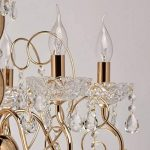 Lustre Classique à 5 Lampes Bougies en Métal couleur Or décoré de Pampilles en Cristal et Verre Gravé pour Salle de Séjour Salon 5x40W E14 de la marque MW-Light image 2 produit