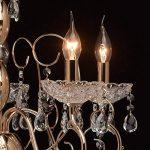 Lustre Classique à 5 Lampes Bougies en Métal couleur Or décoré de Pampilles en Cristal et Verre Gravé pour Salle de Séjour Salon 5x40W E14 de la marque MW-Light image 3 produit