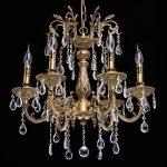 Lustre Classique à 6 Lumières en Métal couleur Bronze Antique avec Lampes Bougies décorées de Pendeloques en Cristal pour Salon Hall d'Entrée Salle de Séjour 6x60W E14 de la marque MW-Light image 1 produit