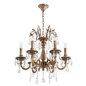 Lustre Classique à 6 Lumières en Métal couleur Bronze Antique avec Lampes Bougies décorées de Pendeloques en Cristal pour Salon Hall d'Entrée Salle de Séjour 6x60W E14 de la marque MW-Light image 0 produit