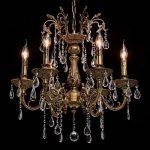 Lustre Classique à 6 Lumières en Métal couleur Bronze Antique avec Lampes Bougies décorées de Pendeloques en Cristal pour Salon Hall d'Entrée Salle de Séjour 6x60W E14 de la marque MW-Light image 2 produit