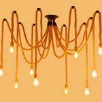 Lustre/corde de lustre industriel de corde de chanvre de luminaires suspendus de restaurant/luminaire non inclus (6 têtes) de la marque BLUE CHARM image 2 produit