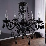 """Lustre de luxe """"ELEGANCE""""   Ø 54 cm, noir   lustre avec 5 branches, cristaux acryliques de la marque DESIGN DELIGHTS image 1 produit"""