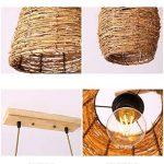 Lustre Double Tête De Bambou Rural En Rotin De Lampe 55cmX20cm pour salon salle à manger hôtel de la marque ZHA image 2 produit