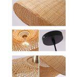 Lustre Double Tête En Bambou Chambre Allée En Rotin Lampe 60cmX32cm pour salon salle à manger hôtel de la marque ZHA image 2 produit