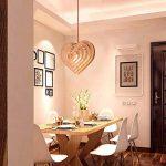 Lustre en bois massif nordique, chaud romantique LED en forme de coeur en bois lampe de plafond Moderne minimaliste salon étude couloir lumière créative salle à manger café chambre lustre de la marque ZZW image 1 produit