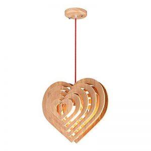 Lustre en bois massif nordique, chaud romantique LED en forme de coeur en bois lampe de plafond Moderne minimaliste salon étude couloir lumière créative salle à manger café chambre lustre de la marque ZZW image 0 produit