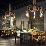Lustre en fer chanvre éclairage E27 noir salle à manger balcon chambre bar café bureau bar magasin de vêtements rétro vent industriel créative mode simple personnalité [énergie A + niveau] A+ de la marque Chandelier 1 image 2 produit