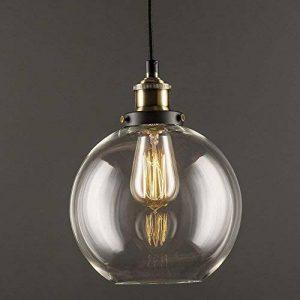 Lustre en verre transparent lampe suspendu rond rétro industriel simple de la marque Huahan Extension image 0 produit