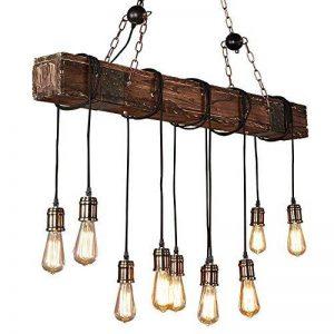 Lustre Industriel Bois Suspension Industrielle Luminaire Vintage Salon Cuisine Lampe Plafond pour E27 Lampe de la marque KJLARS image 0 produit