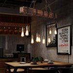 Lustre Industriel Bois Suspension Industrielle Luminaire Vintage Salon Cuisine Lampe Plafond pour E27 Lampe de la marque KJLARS image 2 produit