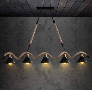 lustre loft de style industriel restaurant bar chandeliers American rétro personnalité créative vêtements magasin réseau café corde lustres Lustre en bois de la marque FAFZ image 0 produit