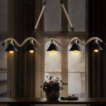 lustre loft de style industriel restaurant bar chandeliers American rétro personnalité créative vêtements magasin réseau café corde lustres Lustre en bois de la marque FAFZ image 2 produit