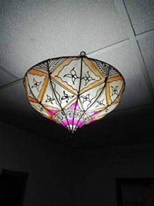 Lustre plafonnier marocain lampe lanterne cuir fer Henne orientale Hippy ethnique chic 1241 de la marque Etnico Arredo image 0 produit