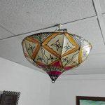Lustre plafonnier marocain lampe lanterne cuir fer Henne orientale Hippy ethnique chic 1241 de la marque Etnico Arredo image 3 produit