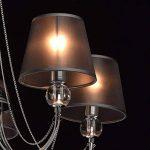 Lustre Plafonnier Moderne à 5 Lampes en Métal couleur Chrome avec Abat-jours en Organza Noir décoré de Cristal pour Chambre Salon Chambre à Coucher 5x40W E14 de la marque MW-Light image 3 produit